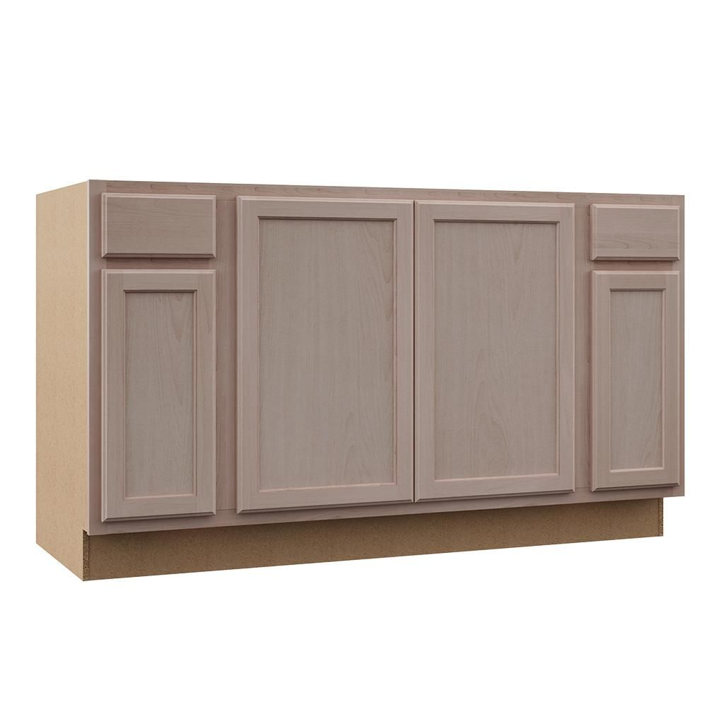 Hampton Bay Hampton Assembled 60x34 5x24 In Sink Base Kitchen Cabinet In Unfinished Beech Ksbf60 Uf The Home Depot Stock Kitchen Cabinets Kitchen Cabinets Home Depot Unfinished Kitchen Cabinets