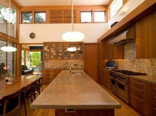 Classic japanese kitchen design with granite countertop for Zen style kitchen designs