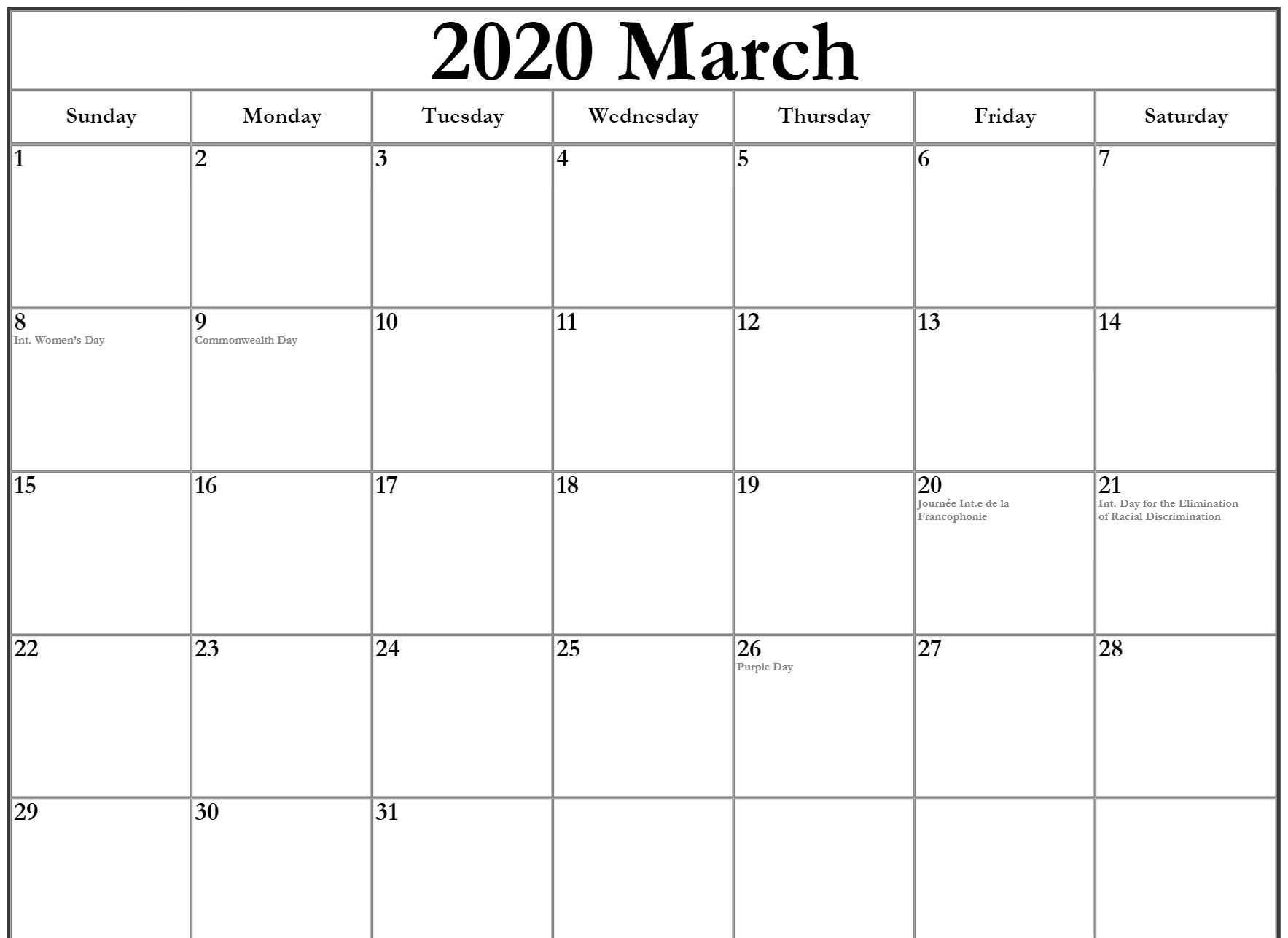 March 2020 Calendar With Holidays For Uk Canada Usa India In