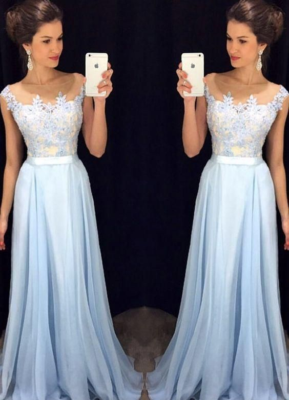 f7c71d614c5 Lavender 2016 Prom Dresses Lace Applique Beads 2017 Formal Long Bridesmaid  Dresses A Line Crew Neck Zip Back Chiffon Party Gowns Light Blue Prom  Dresses ...