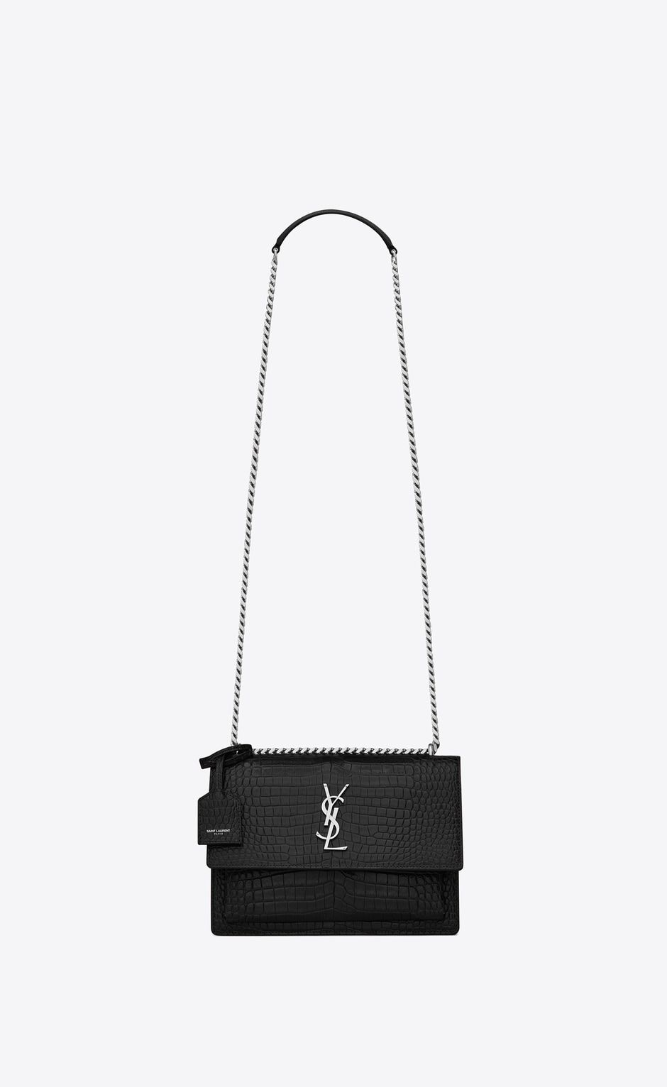 Medium Sunset Bag In Black Crocodile Embossed Shiny
