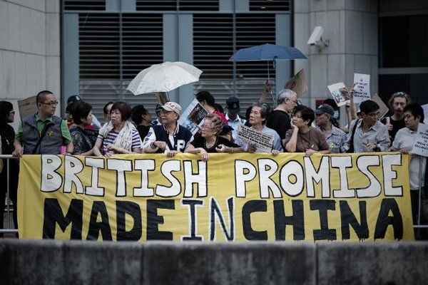 Hong Kong democracy activists protest outside British consulate