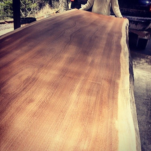 Just got this monster into the shop - available slab 11 feet long, 48 wide - gorgeous African Teak