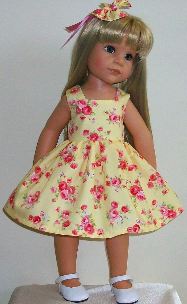 SUMMER SALE! pretty rose dress & hair bow fits 18-20\