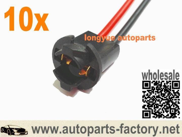 Longyue T10 168 194 2825 W5w Wire Wiring Harness Sockets Parking Side Marker License Bulbs 6 Markers Harness Sockets