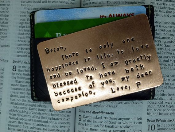 Wallet Insert Card Copper Hand Stamped Anniversary Gift Husband