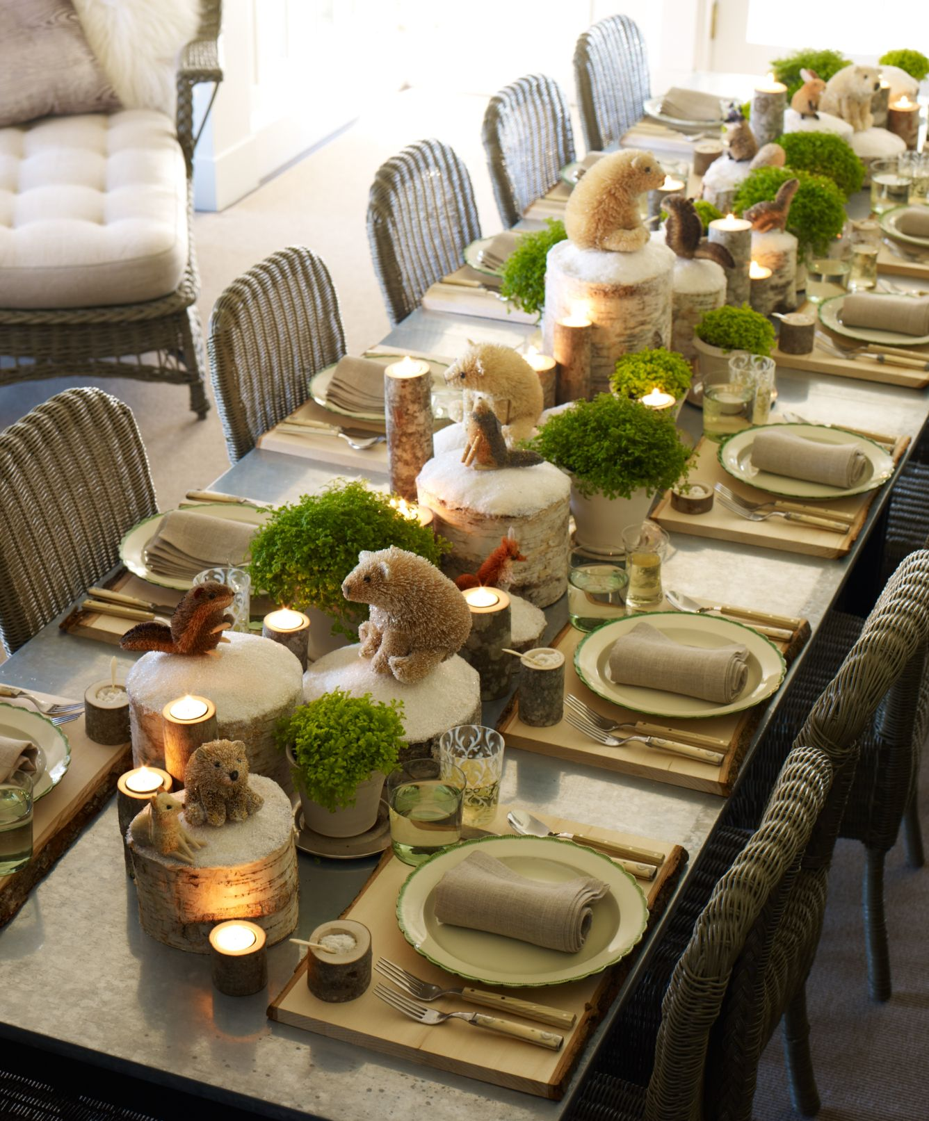 Winter tablescape woodland animals and animal