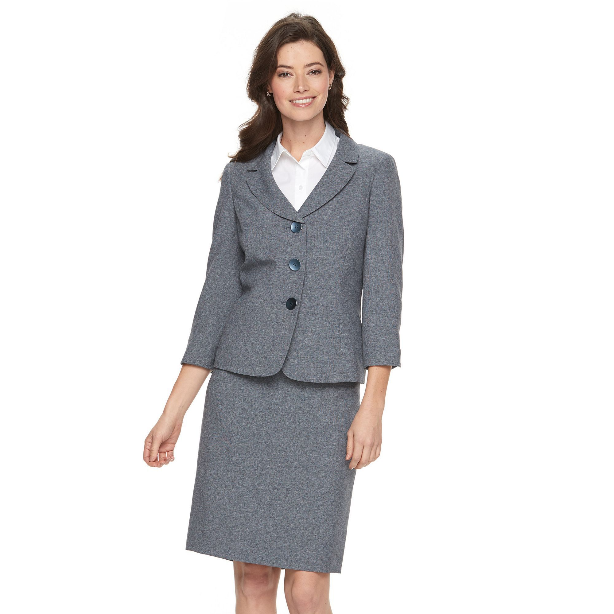 Women's Le Suit Solid Gray Suit Jacket & Pencil Skirt Set, Size ...