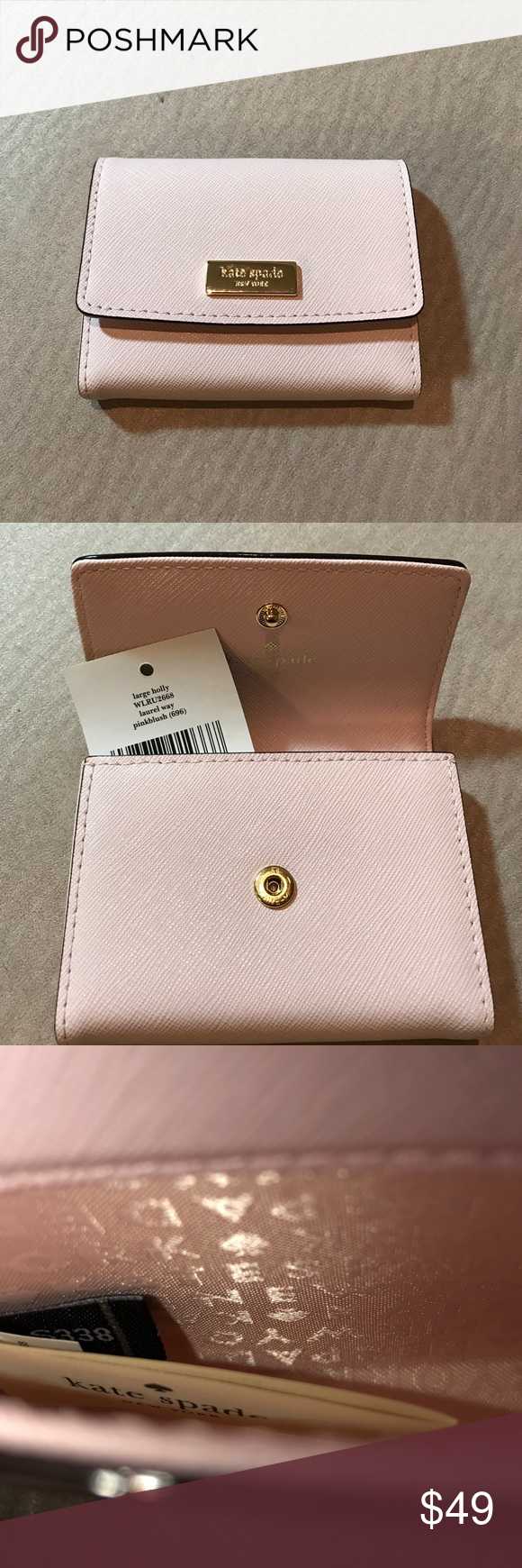 Kate Spade Lg Holly Laurel Way Card case Kate Spade pink blush ...
