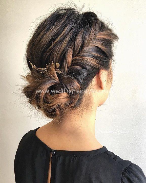 Lange Haare Modelle – Fishtail Side Bun, Hochzeitsfrisur, Hochzeit Haar Idee ……