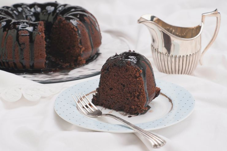 Here's a recipe for chocolate cake that's much lower in fat and calories than boxed cake mix.