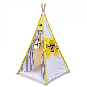 4 Poles Childs Teepee Kids Play Tent Canvas Indoor Outdoor Tipi Playhouse Yellow