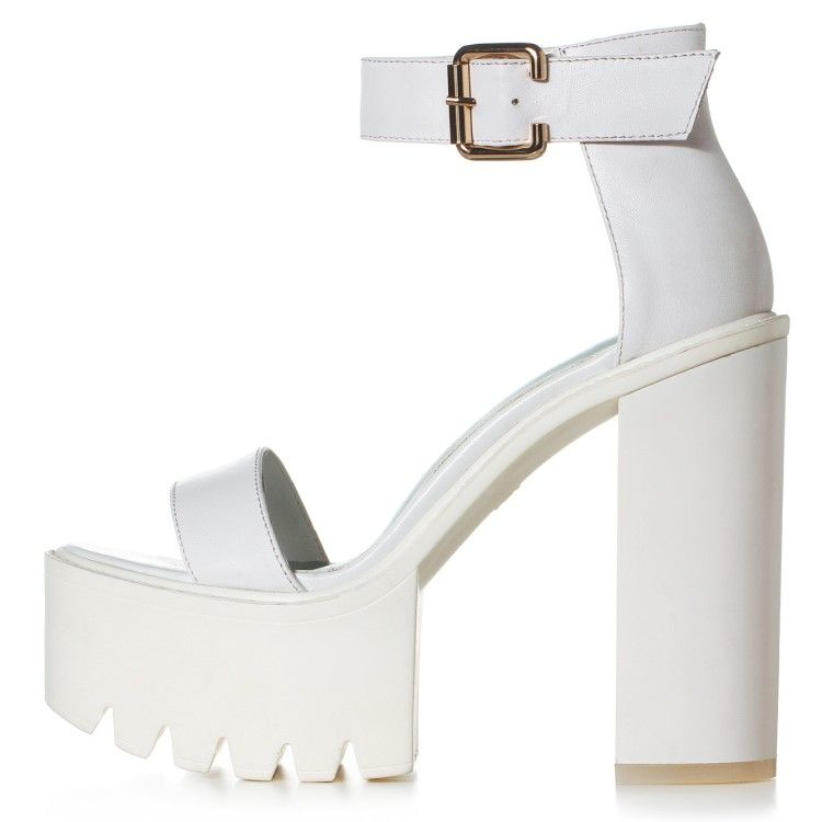 white high platform open toe sandals