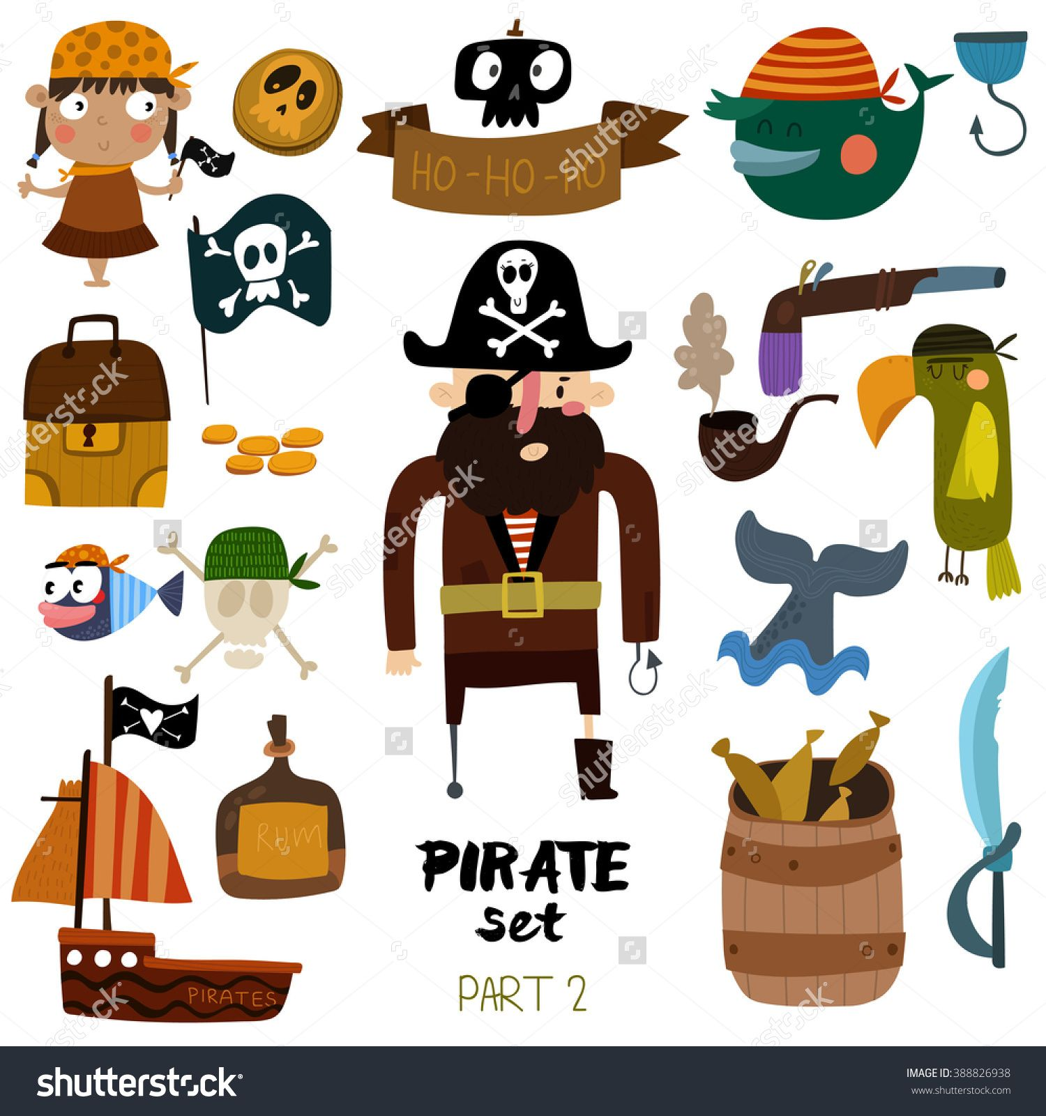vector set of pirate items pirate ship skull parrot whale