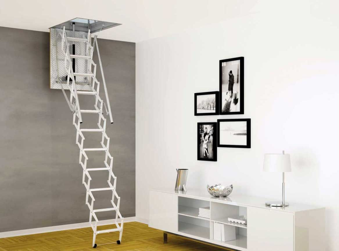 Pull Down Attic Stair In Galvanized Steel With Springs And Dampers Jpg 1 167 865 Pixels Attic Ladder Attic Stairs Home Decor