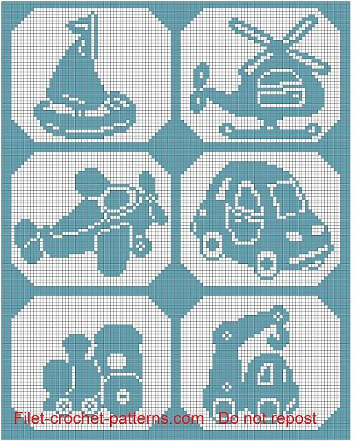 Baby blanchet with transportation filet crochet pattern | coisas de ...