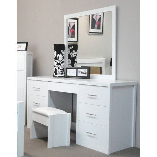 By designs ibiza 7 drawer dressing table with mirror for Vanity table with drawers no mirror