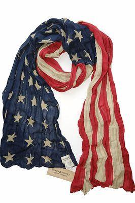 New Ralph Lauren Vintage American Usa Flag Scarf Denim Partner Flag Scarf Denim And Supply Fashion