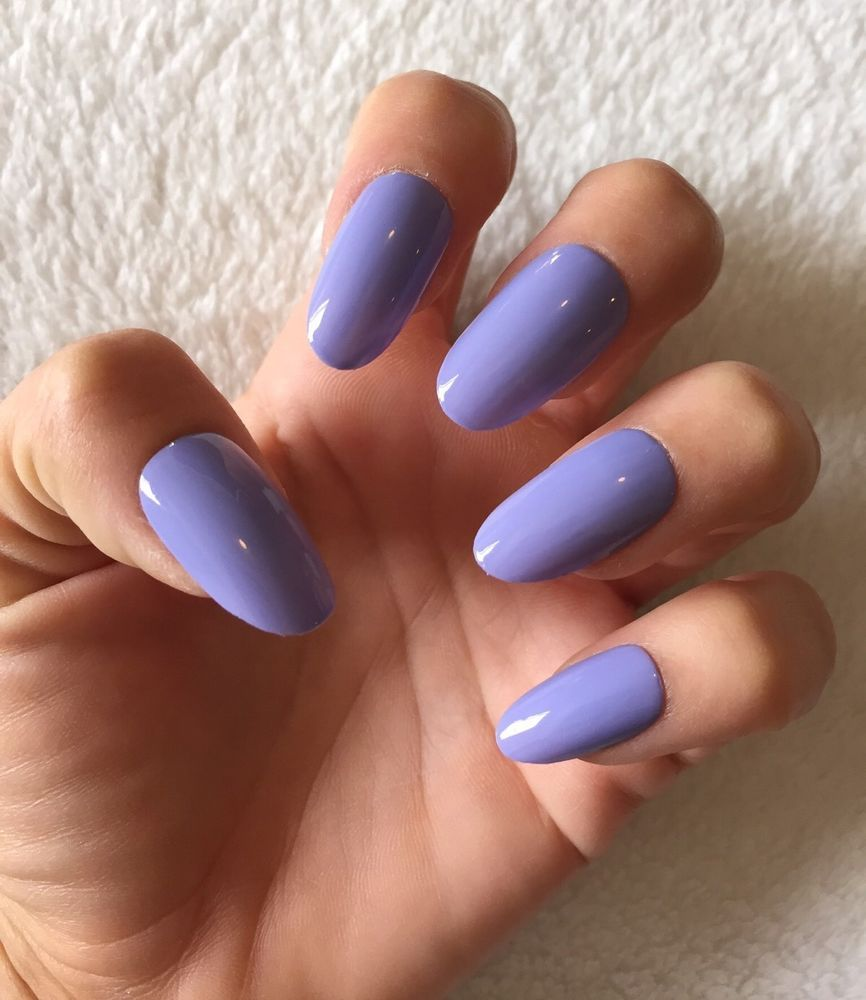 Set Of 20 Handmade Lavender Purple Press On Oval False Nails Claws ...