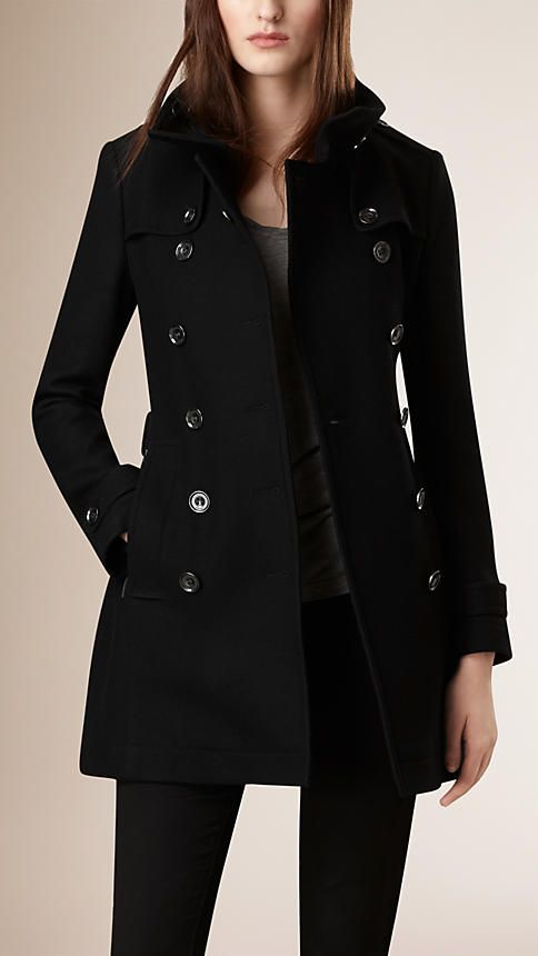 2d3a0d8c Short Double Wool Twill Trench Coat in Black - Women in 2019 ...