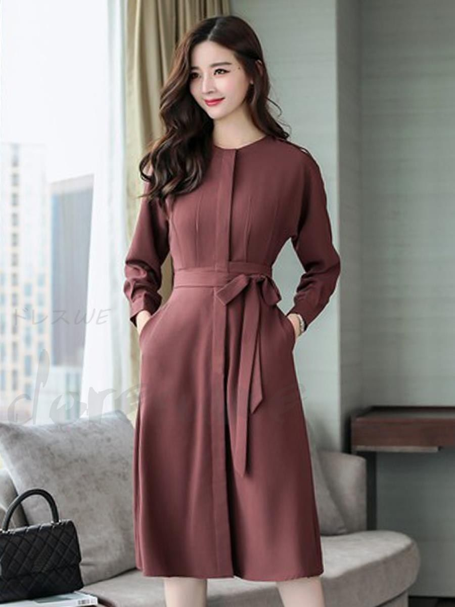 Round neck long sleeve high waist pure color knee length waist draw dipping  dating one piece 12964299 - Date dresses - Doresuwe.Com 0bdcd098367b