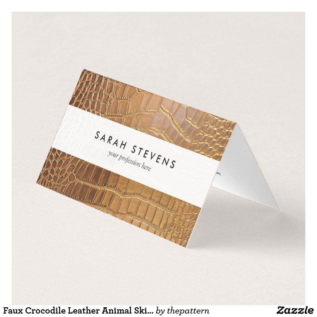 Faux Crocodile Leather Animal Skin Pattern Business Card Zazzle Com In 2021 Business Card Pattern Crocodile Leather Animal Skin