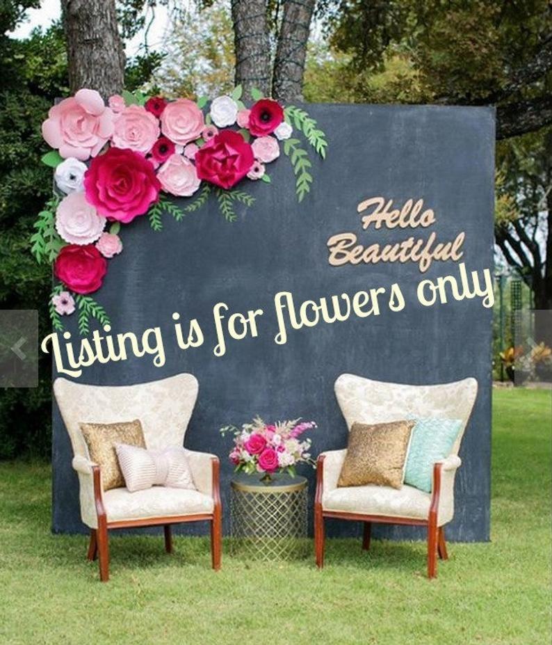 Paper flower backdrop, flower wall, flower backdrop, paper flower wedding backdrop, large flowers, giant paper flowers, custom paper flowers #largepaperflowers