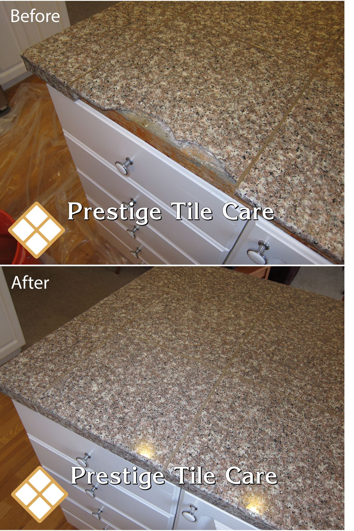 Replacing Broken Granite Countertop Tile And Regrouting Tile