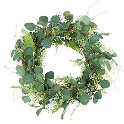 "Photo of 20"" Green Leaf Eucalyptus Wreath White Flowers Fern Leaves for Festival  #fashi…"