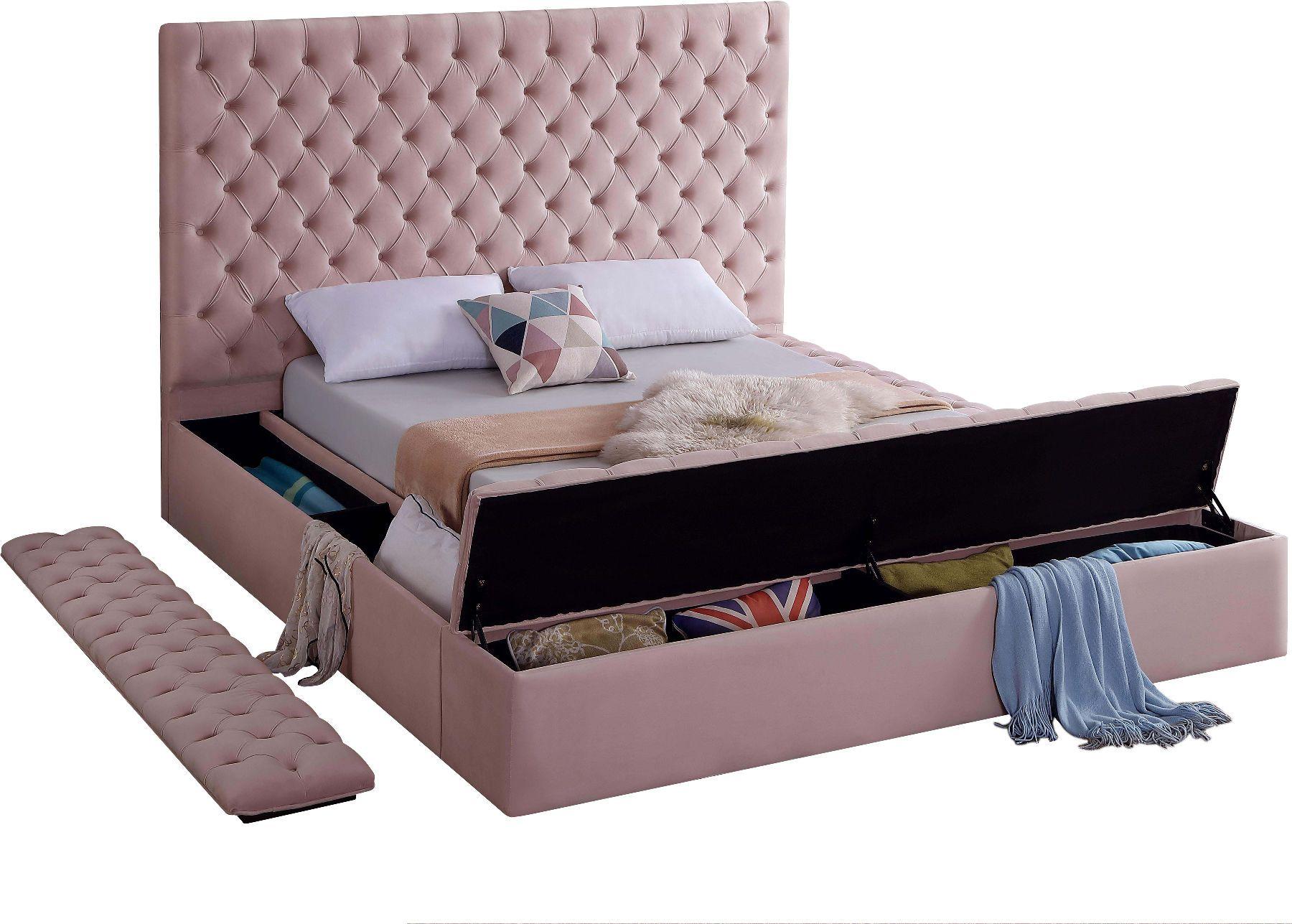 Meridian Bliss Pink Velvet Tufted King Bed W/ Storage in
