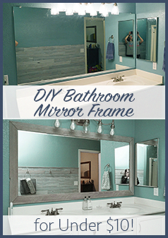 Diy Bathroom Mirror Frame Cheap Easy Do It Yourself Mirror Makeover Blue Wood Stain White Wash Bathroomdiymakeover In 2020 Interieur Diy Diys Badkamer