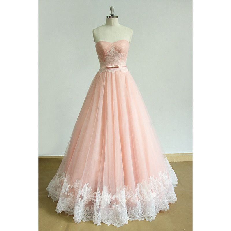 Beautiful Light Pink Long Tulle Prom Gown , Party Dresses, Pink ...