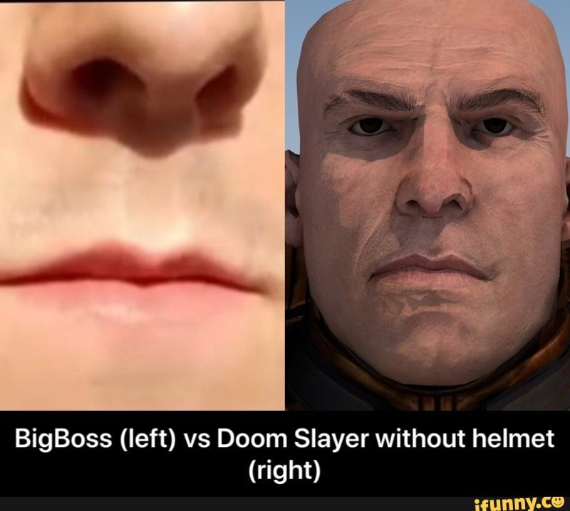 Bigboss Left Vs Doom Slayer Without Helmet Right Ifunny