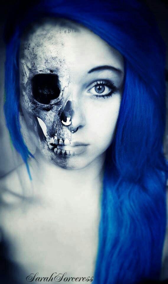 emo skeleton face paint girl