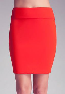 SOLID SKIRT W/WB AND CB ZIP at bebe