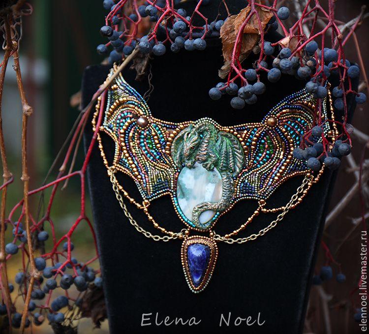Купить Осенний Дракон - Вышитое бисером колье - синий, дракон, зеленый дракон, колье с драконом