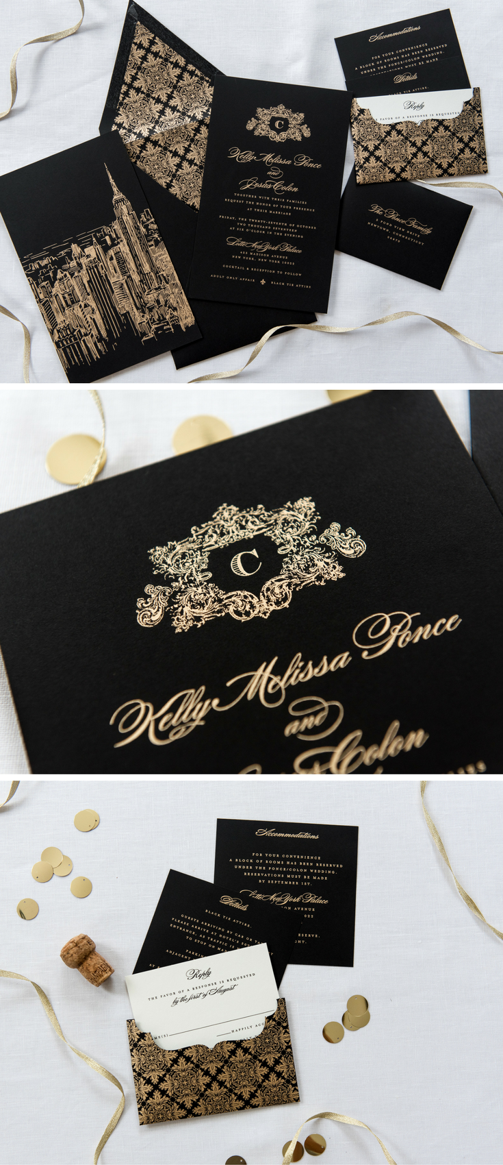 Black And Gold Wedding Invitation With A Top V Flap Envelope Bold