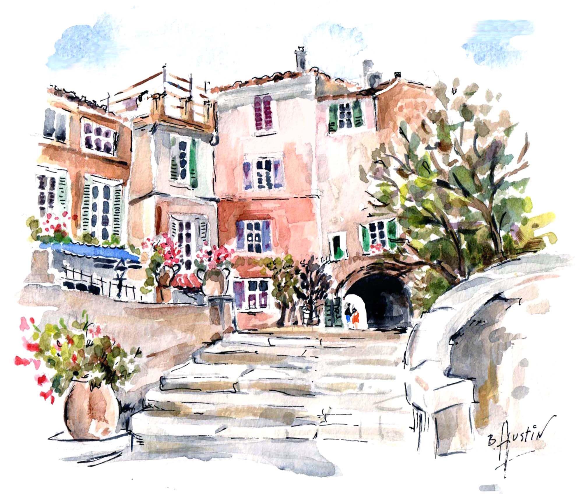 Mediterranean Village South France Aquarelle