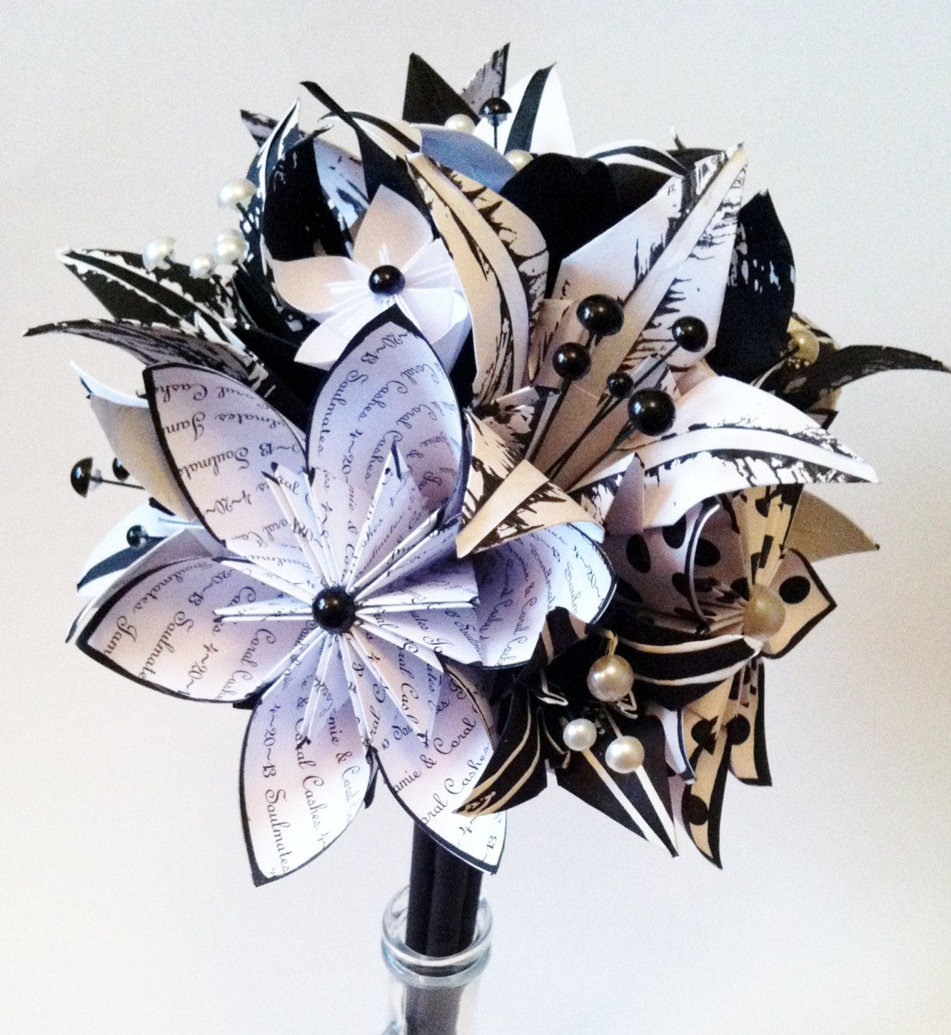 How to make a recycled paper flower httpecosnobberysucks origami flowers lilies wedding bouquet a personalized one of a kind non dhlflorist Image collections