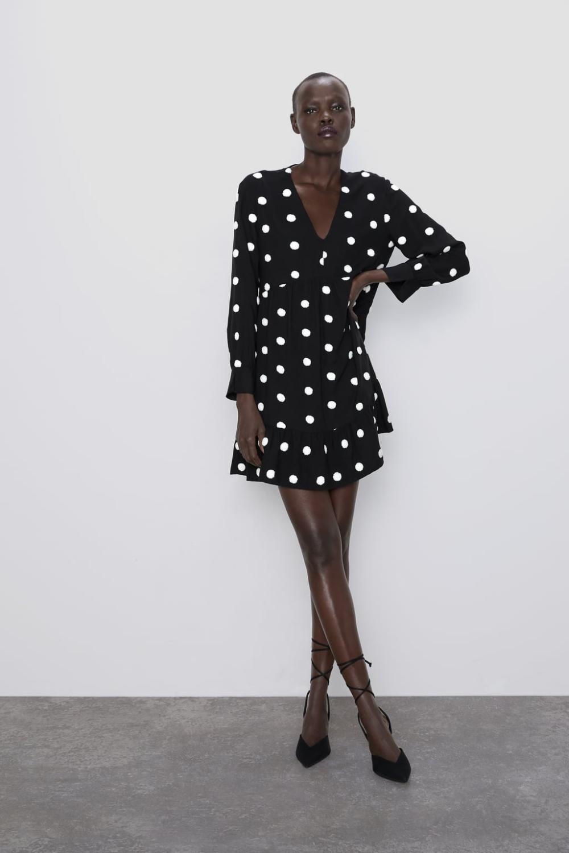 Puantiyeli Islemeli Elbise Zara Turkiye 2020 Elbise Zara Uzun Kollu