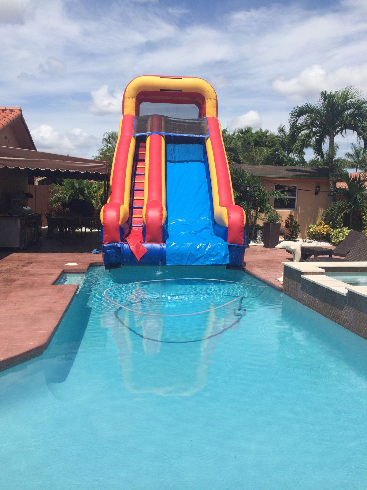 20 Tall Slide Into The Pool Water Slide In 2019 Pool