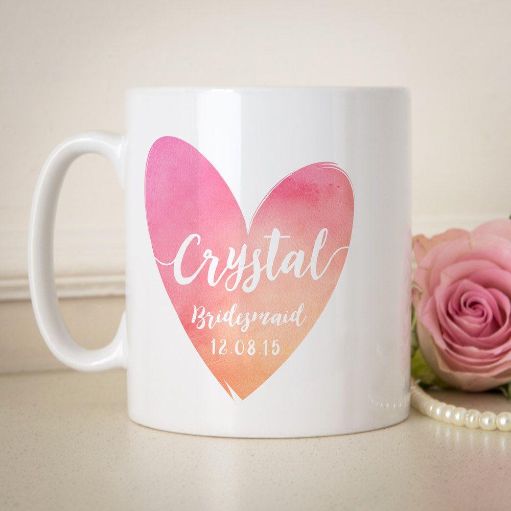 Bridesmaid wedding gift, personalised mug. Customise the name and ...