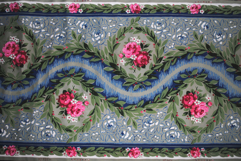 Antica CARTA da PARATI FRANCESE bordura con medaglioni di