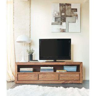 Meuble Tv 3 Tiroirs En Sheesham Massif Et Acacia Meuble Tv Mobilier De Salon Et Meubles En Bois Modernes