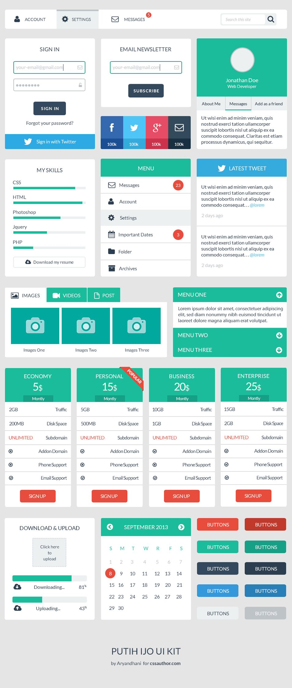 Beautiful Free Web User Interface Design Kit PSD – Freebie No: 121 ...