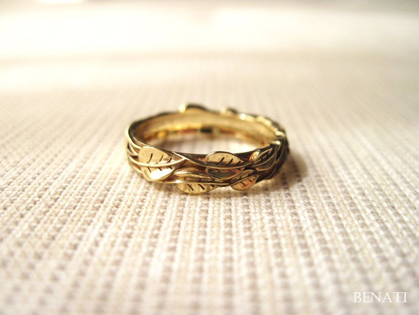 Gold Leaf Wedding ring, Gold Wedding Leaf Ring, Leaves Wedding ...