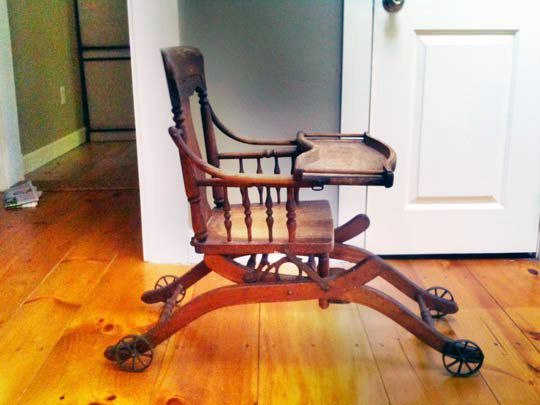 Antique high chair that converts to a stroller. - Look! An Antique Convertible Low Rider High Chair For The Home