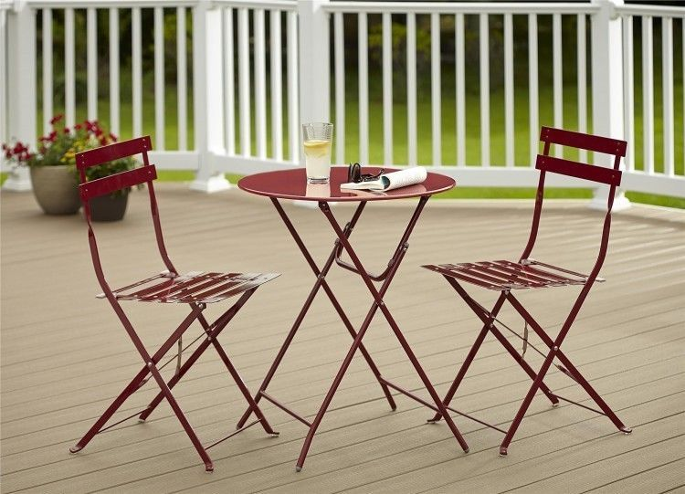 Bistro Style Patio Table And Chairs Set Red 3 Piece Folding Outdoor Garden  Yard