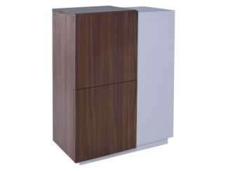 Contemporary Designer Tall Sideboard - Marlow WHITE with WALNUT accent