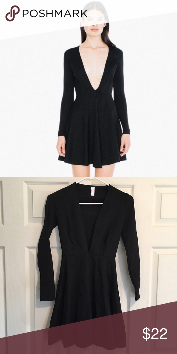 4385ffdcaf American Apparel Deep V Long Sleeve Skater Dress Brand new deep v dress